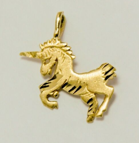 14k or Jaune licorne cheval Diamond Cut Charm Pendentif