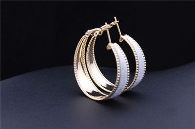 Gold Plated Frosted Hoop Earrings 3.5 X1 cm Silver Shiny Chunky Women Jewellery