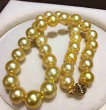 "HUGE 15-12 MM golden natural 18"" AAA SOUTH SEA PEARL NECKLACE 14K gold Clasp"