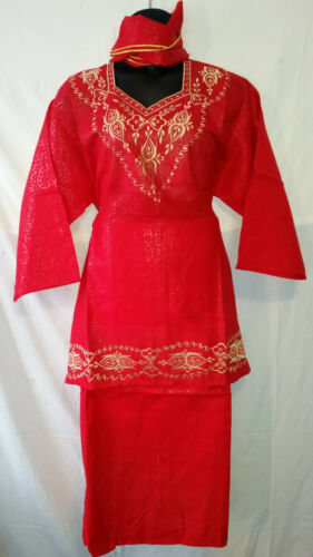 Women African Skirt Suit Attire Outfit Boho kaftan style Red Gold Free Size