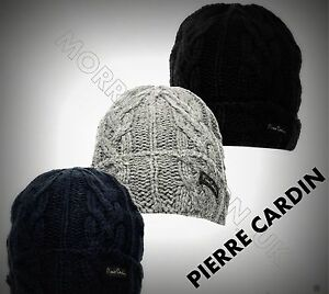 Mens Designer Pierre Cardin Logo Warm Winter Acrylic Knitted Beanie ... 39ae8cd74cf