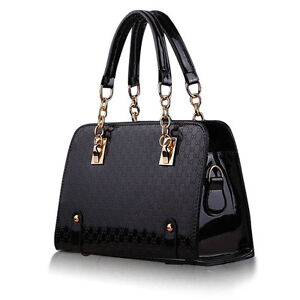 Femmes-Sac-a-Main-d-039-Epaule-Bandouliere-Fourre-tout-Messenger-Bag-PU-Cuir-Noir