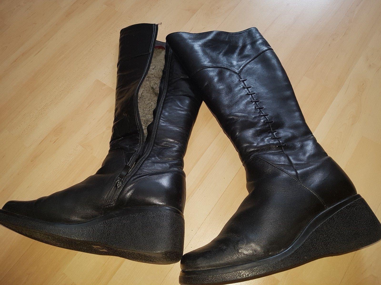 Damen Echtleder Echtlamm Schuhe  w.neu Stiefel Gr. 37/38 schwarz w.neu  50cf80
