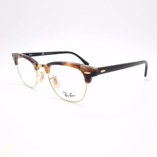 a8559c0d9c Authentic Ray Ban RX 5154 Clubmaster 5494 Brown Havana Gold Eyeglasses 49mm