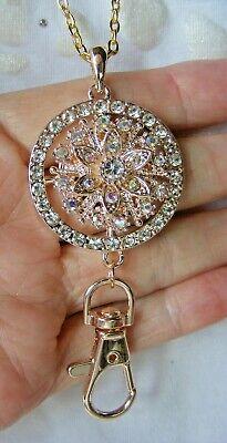 Silver Rose Jewel Clip ID Badge Name Tag Key Card Keys Holder Necklace Lanyard
