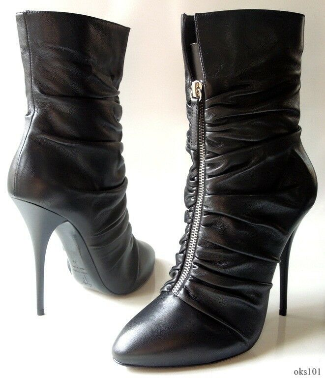 New  895 Giuseppe leather ZANOTTI schwarz leather Giuseppe zip front platform ANKLE Stiefel - SEXY 43ff24