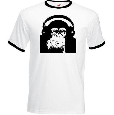 T-shirt Homme à l/'aise noël cadeau zip chimpanzé singe qui fume photo drôle