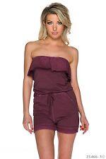 Sexy Bandeau Hosenanzug Jumpsuit Overall Hot Pants mit Volants lila 34 36 38