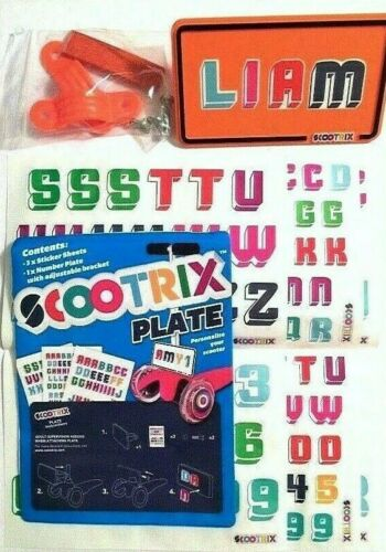 Bike Scooter NUMBER PLATES Your Childs Name DIY Personalise Brand New scootrix