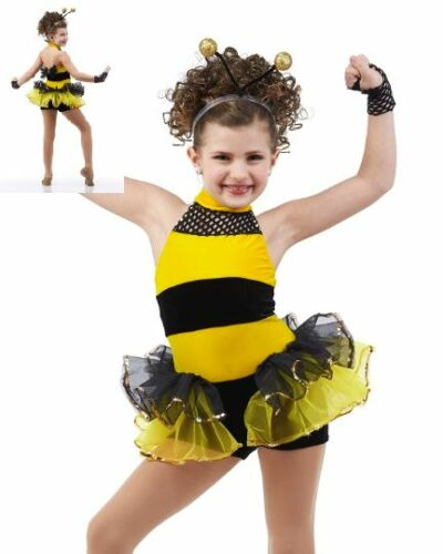 Busy Bumble Bee Dance Costume Leotard w//Headpiece /& Wings Showcase AL AM CXL CL