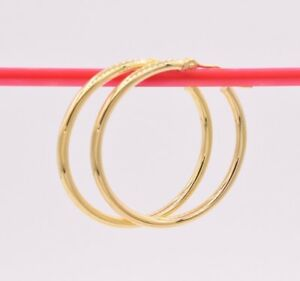 2mm-X-30mm-Plain-All-Polished-Shiny-Hoop-Earrings-REAL-14K-Yellow-Gold