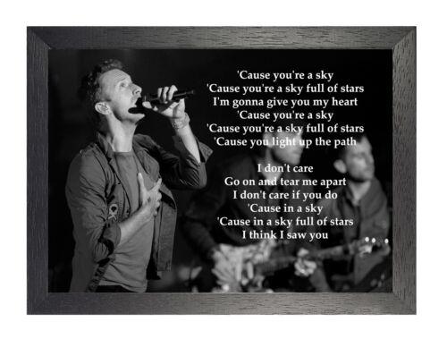 "Coldplay Legend British Band /""A Sky Full Of Stars/"" Rock Lyrics Poster B/&W"