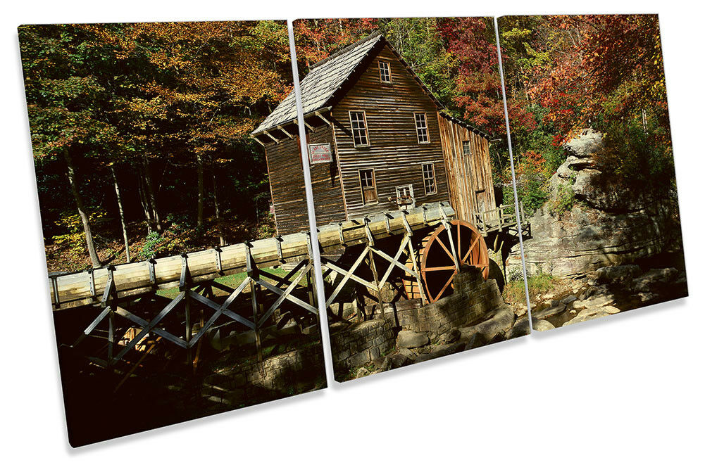 Landscape Forest Barn Woods Picture CANVAS WALL ART TREBLE Print