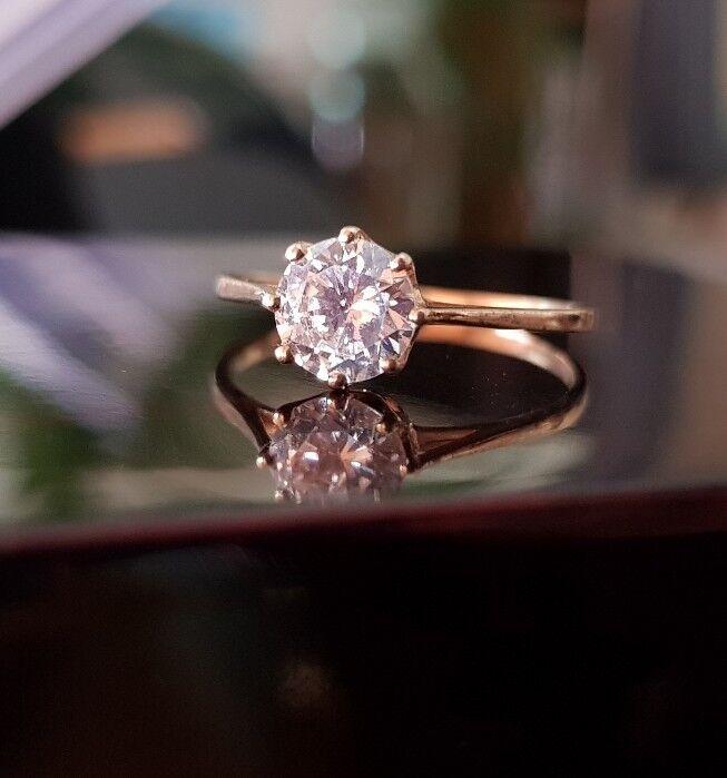 9ct 9ct 9ct oro Giallo Solitario Taglio rossoondo 0.5ct creato Anello Di Diamanti Misura J GRATIS 6ca401