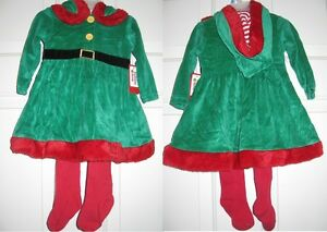 Holiday-Time-Red-Green-Infant-Girl-Striped-Hood-Velour-Mrs-Santa-Dress-w-Tights