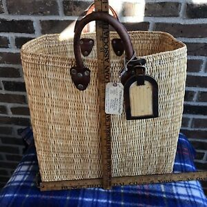 RARE-VINTAGE-1970s-RAFFIA-PALM-amp-LEATHER-18-034-x-17-034-x-7-034-BEACH-TOTE-BASKET-BAG