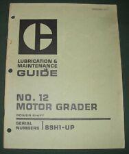 Cat Caterpillar No 12 Motor Grader Lubrication Amp Maintenance Book Manual Sn 89h