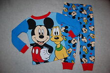 Toddler Boys L//S Pajamas Set MICKEY MOUSE PLUTO Red Blue DISNEY Size 2T 3T