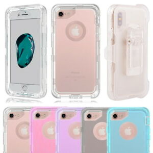 newest c9959 91fcd Details about Clear Shockproof Case Cover For iPhone X 8 7 6, Fits Otterbox  Defender Belt Clip