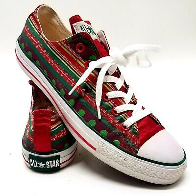 CONVERSE CHUCK TAYLOR All Star Christmas Red Green Ugly Sweater Shoes Men's 8 | eBay