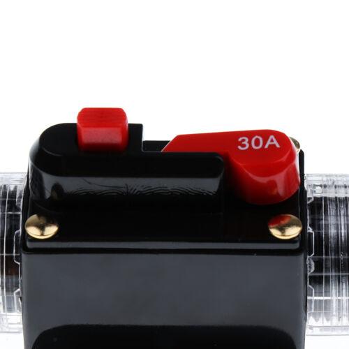 DC 12V 24V Car RV Audio Inline Circuit Breaker Fuse Manual Reset Switch 30A