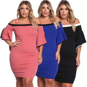 21c0ad3b801d3 Plus Size Cold Shoulder Bell Sleeve Bodycon Casual Cocktail Evening ...