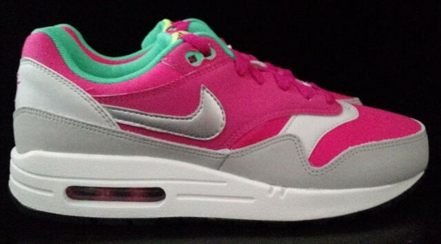 Nike Air Max 1 GS Youth Shoe Size 6y 653653 600 Hot Pink Metallic Silver