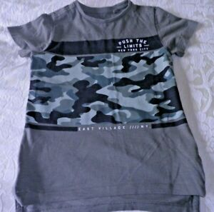 Boys Primark Grey Camo Camouflage Print Pattern T-Shirt Age 3-4 Years