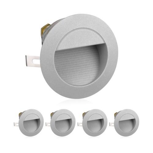 230V rund warm-weiß LED Treppen-Licht Wand-Einbauleuchte für außen 5 Stk.