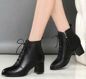 Womens-Faux-Leather-Med-Chunky-Heels-Ankle-Riding-Boots-Lace-Up-Work-Shoes-E747