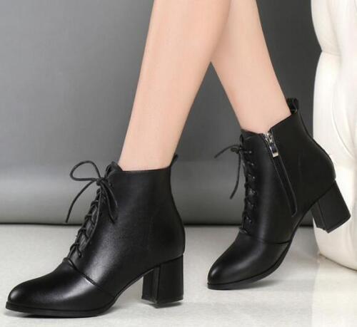 Chaussures femme en cuir synthétique Med Chunky Talons Hauts Cheville Bottes Cavalières Lacets Travail Chaussures E747