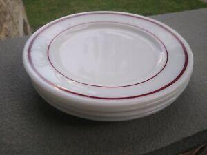 Set of 4 Vintage Pyrex Tableware Milk  Glass Plates with Burgundy Stripes