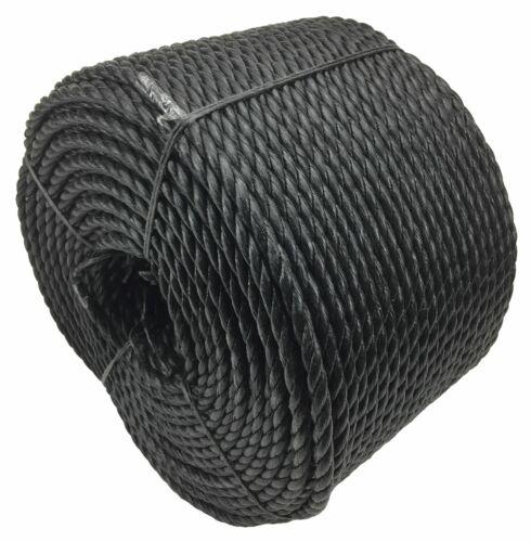 Poly Corde bobines 10 Mm Noir Polypropylène Corde x 40 mètres Bon Marché corde en nylon