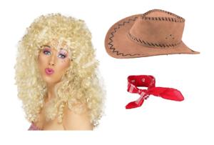Dolly Parton Country Western Idol Hen Night 3 Piece Fancy Dress Costume Wig Set