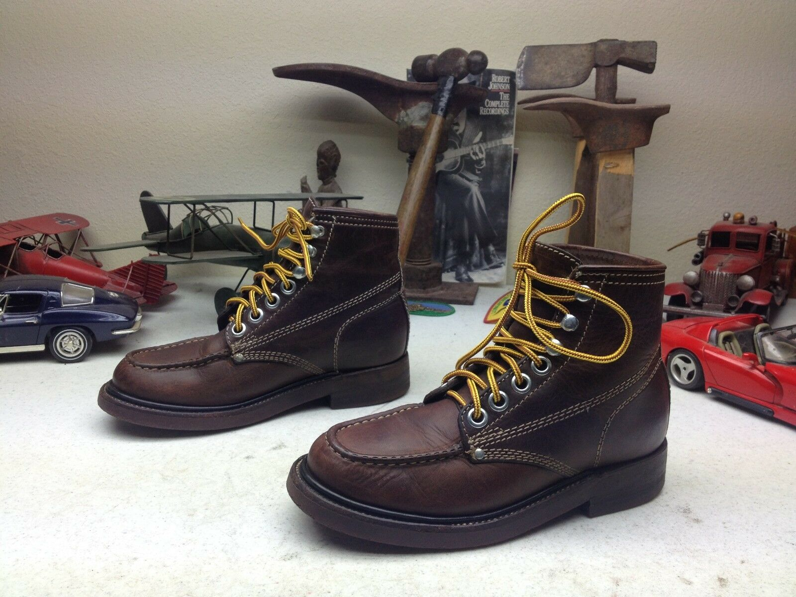 DISTRESSED J.CREW BROWN LEATHER LACE UP ENGINEER BOSS HIKING TRAIL WORK BOOTS 6B
