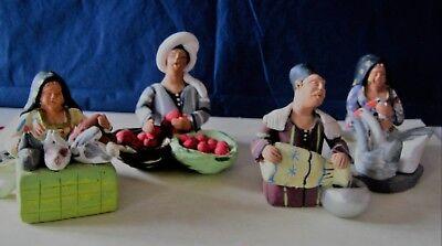 """Bemahlt """"volkskunst"""" Gut FüR Antipyretika Und Hals-Schnuller Ägyptische Figurengruppe /tonfiguren 4 Stk."""