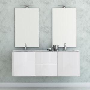 Mobile bagno sospeso bianco lucido con dopio specchio e doppio ...