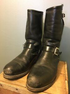 1c7f3e10b7ae9 Details about Vtg 60s 70s Chippewa Black Leather Motorcycle Boots Mens  8-1/2 D Biker Steel Toe