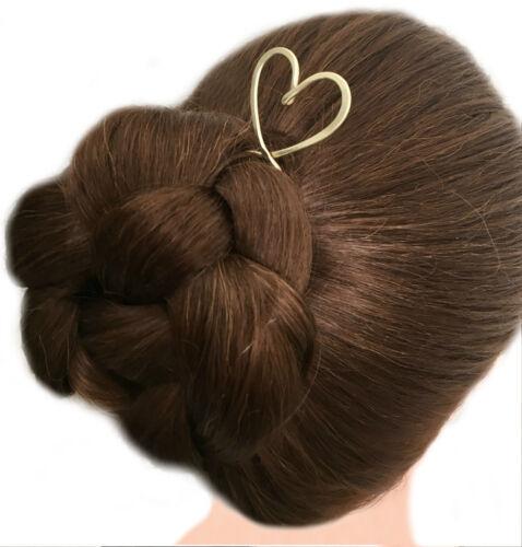 Heart Hair Fork Brass Bun Holder Gold Hair Pin Heart Hair Prong FINE HAIR