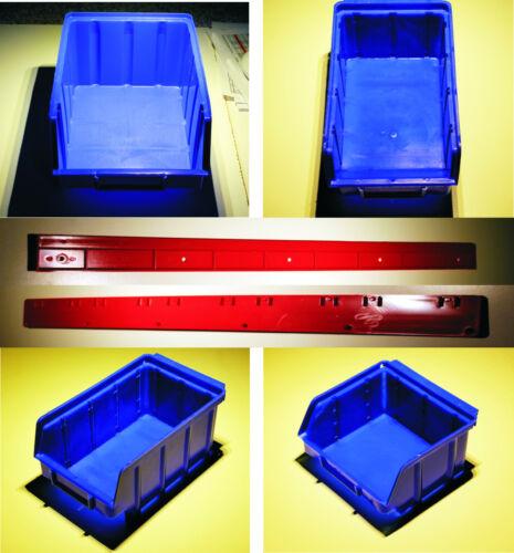 Stapelboxen KS PP Gr.1-2-3-4 blau Sichtlagerkästen Stapelkästen Wandschiene