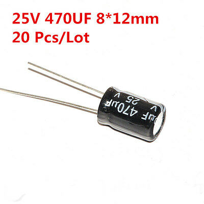 100PCS 470UF 25V Electrolytic Capacitor 25V 470UF 8x12mm