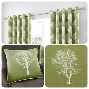 Fusion-WOODLAND-TREES-Green-100-Cotton-Eyelet-Ring-Curtains-amp-Cushions