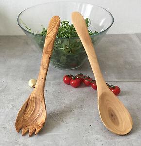 Salatbesteck-Olivenholz-Salatgabel-Salatloeffel-aus-Holz-Handarbeit-25cm