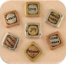 2 Hole Beads Engraved Words 3T Mini Squares ~joy love peace gentle~Sliders QTY 7
