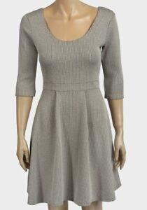 womens-Ladies-Textured-Skater-Dress-miss-selfridge-size-10-14-beige-white-black