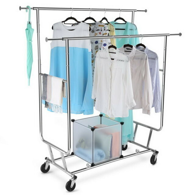 Heavy Duty Double Bar Rolling Clothes Rack Hanging Garment Durable Dry Hanger