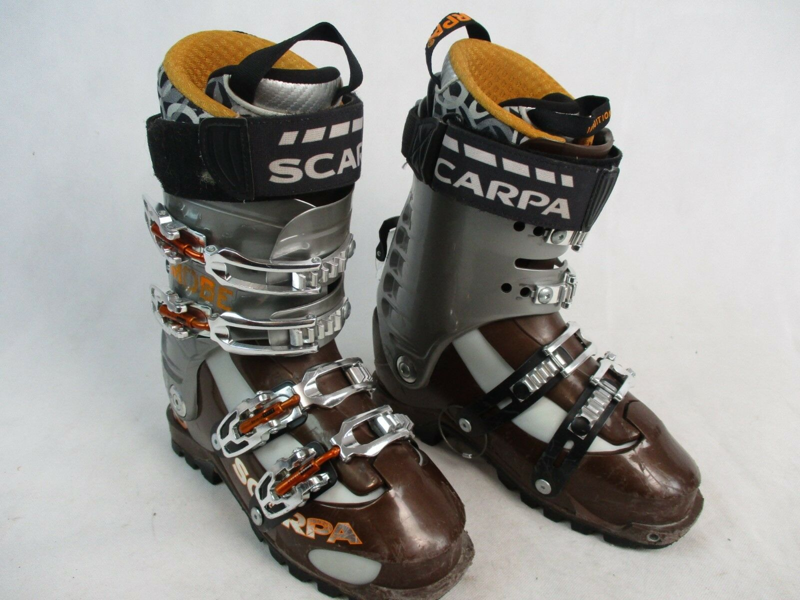 SCARPA MOBE AT SKI TOURING BOOTS - INTUITION LINER -  SIZE 26 BROWN AND orange  10 days return
