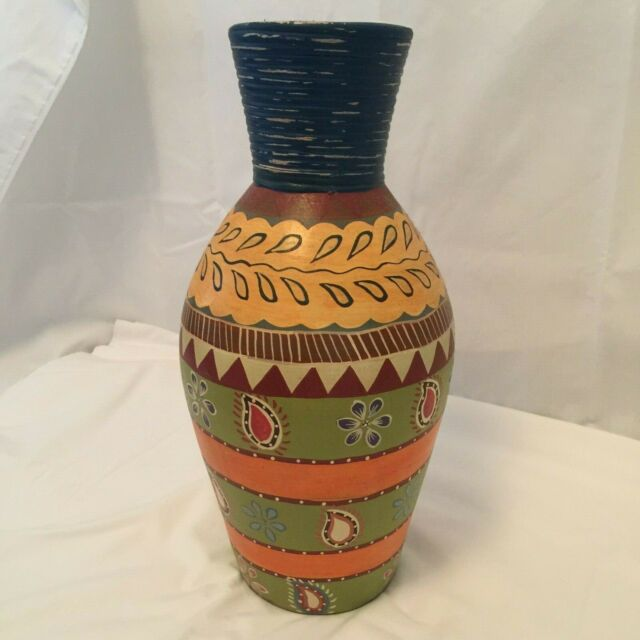 Multicolor Patterned Vase approx 16 in height from Indonesia