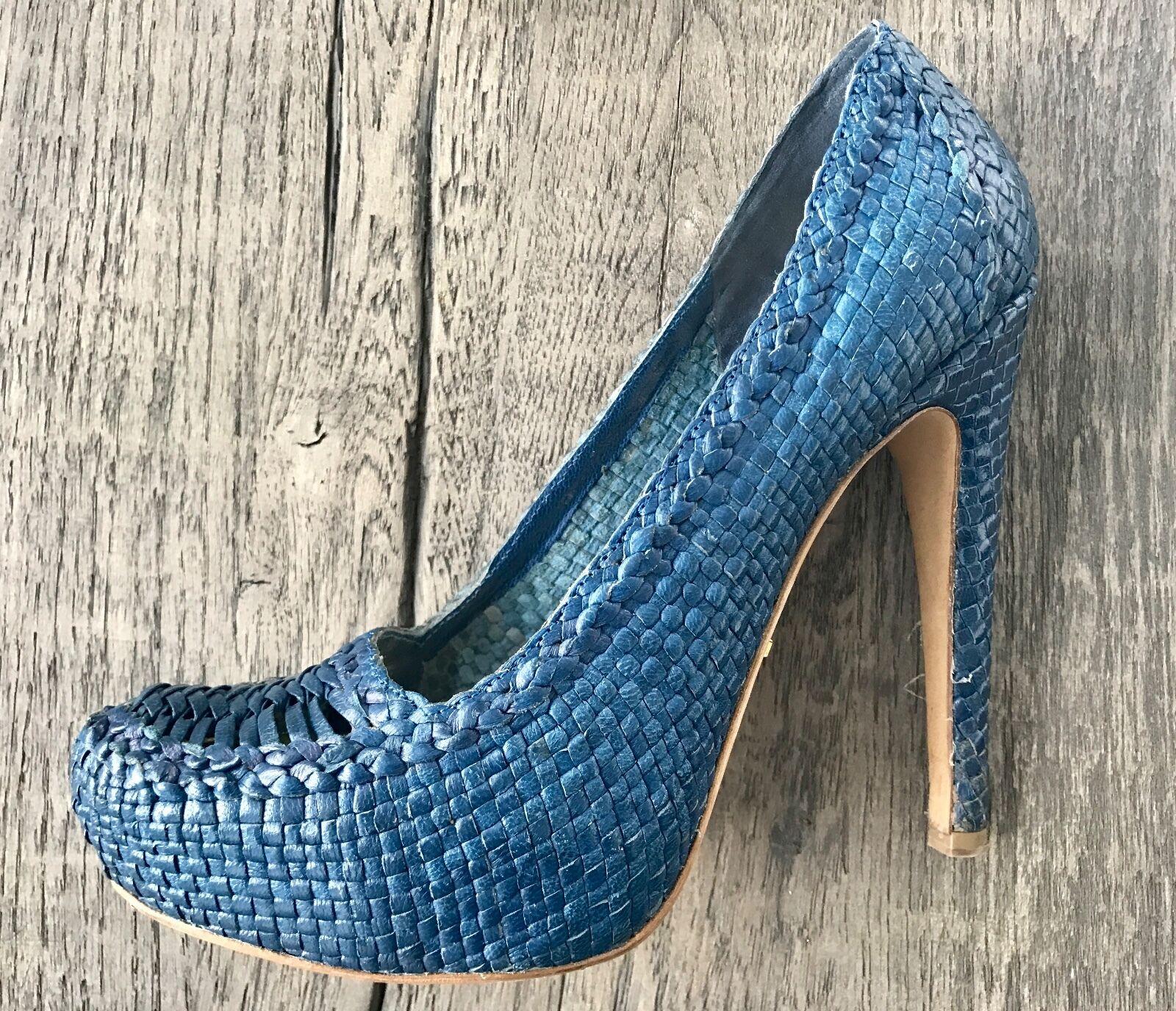 Prada woven leather blue platform size 38