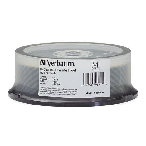 M DISC VERBATIM 25GB BD-R 4X White Inkjet Hub Printable 25 pack - 98917
